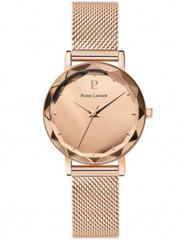Montre femme dorée rose, montre bracelet milanais en acier, montre Pierre Lannier, 025P958