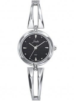 Montre femme Joalia 633427 argentée, fond de cadran noir pailleté, bracelet gris argent