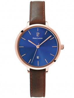 Montre nature, pour femme, bracelet cuir véritable brun, cadran bleu nuit, montre Pierre Lannier, collection Echo, 032K964