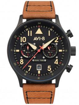 Montre aviateur Avi-8 AV-4088-03, montre Debden Carey Dual Time, montre homme, montre avec un bracelet en cuir marron