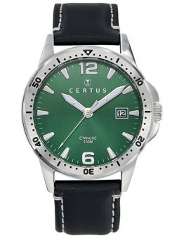 Montre Certus bracelet cuir noir cadran vert 611173