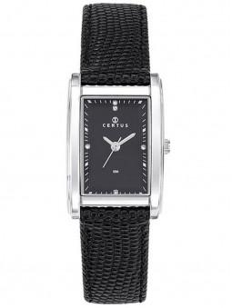 Montre rectangulaire femme Certus 644430, montre noire avec son bracelet noir et cadran rectangulaire noir