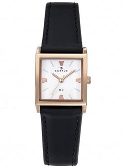 Montre femme, bracelet en cuir noir, cadran carré doré rose, montre de marque Certus, référence article 646251