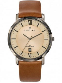 Montre vintage pour homme, montre Certus 611070, bracelet cuir marron, cadran avec indexes chiffres romains