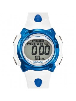 Montre enfant Tekday digitale blanche et bleue 653695
