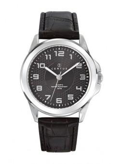 Montre Homme - Noire - Quartz - Bracelet Cuir - Certus 610714