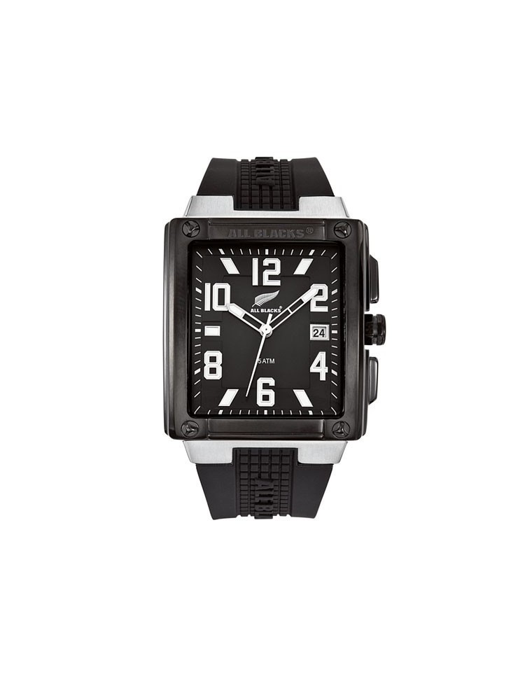 Montre rectangulaire bracelet silicone - ALL BLACKS 680070