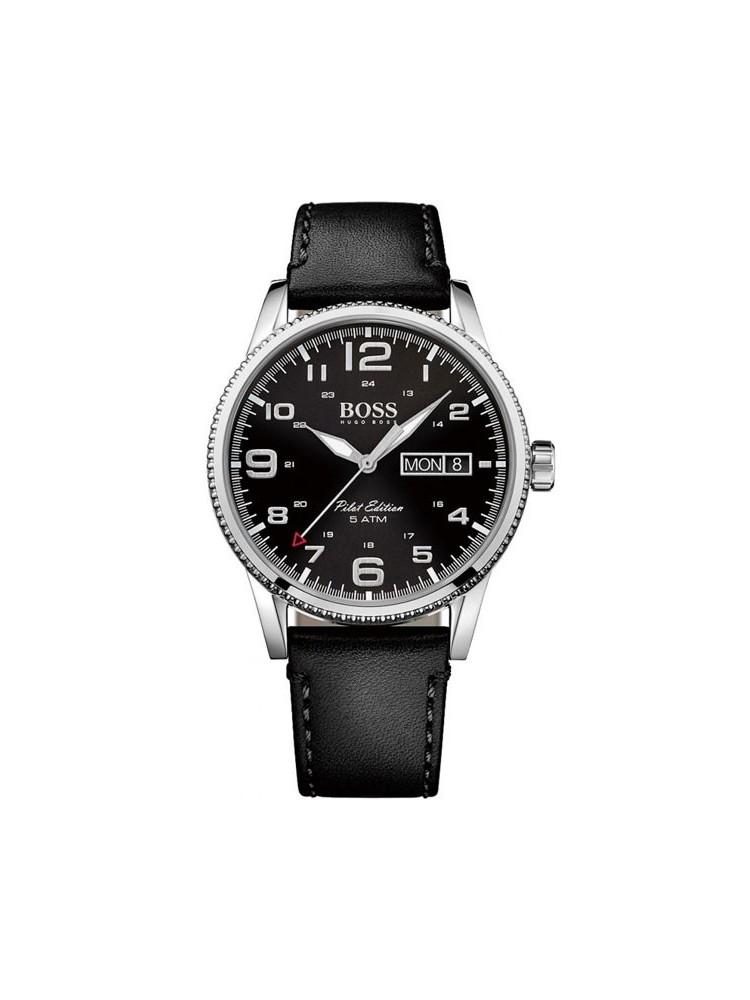 e79708614b7 Montre homme Hugo Boss Pilot cuir noir