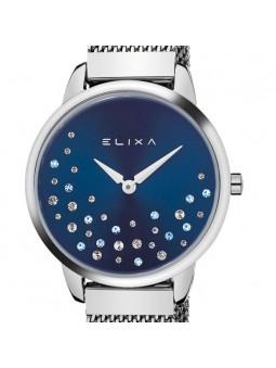 Montre femme Elixa acier et cristaux fond bleu