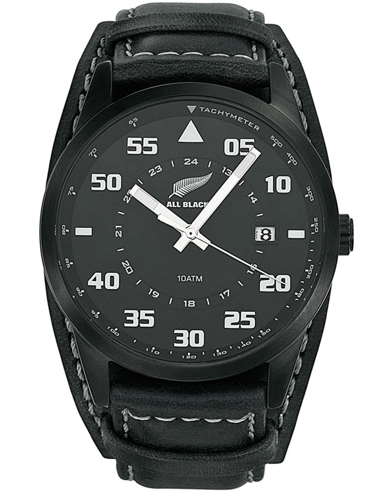 Montre All Blacks homme cuir noir