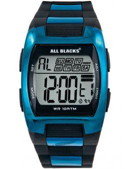 Montre homme All Blacks noire et bleue métalisée