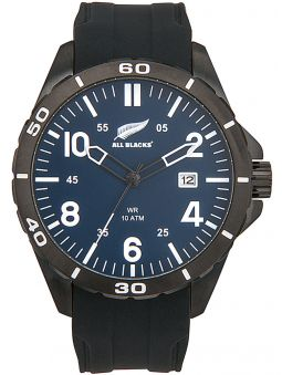 Montre homme All Blacks bracelet silicone et fond bleu
