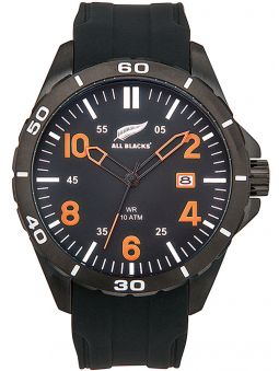 Montre homme All Blacks bracelet silicone index oranges