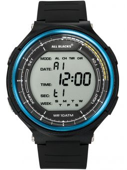Montre homme All Blacks digitale lunette bleue