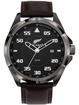 Montre homme All Blacks acier cuir marron