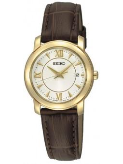 Montre Femme Seiko SXDC22-2 dorée cuir brun