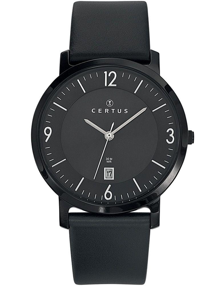 Montre homme Certus bracelet cuir noir