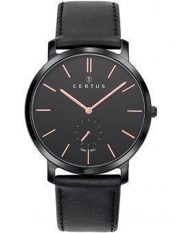 Montre homme Certus bracelet cuir noir cadran secondes