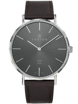 Montre homme Certus bracelet brun fond gris