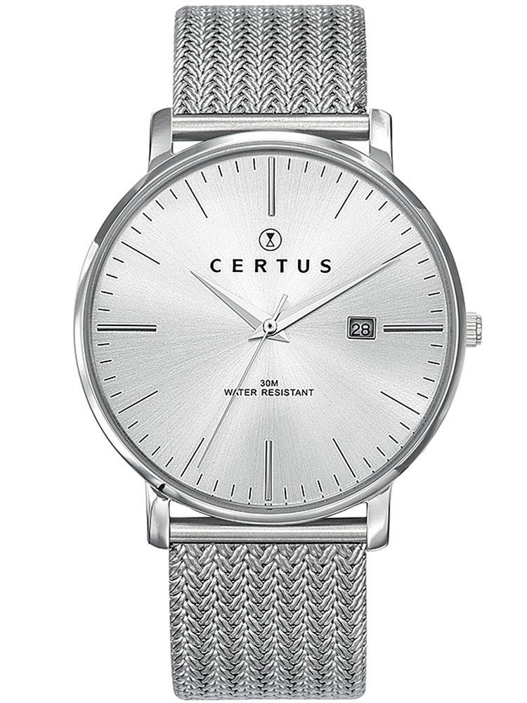Montre homme Certus acier bracelet milanais fond blanc