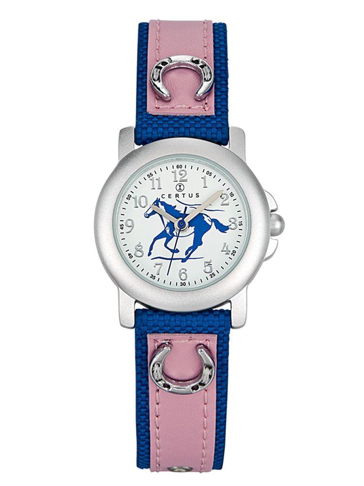 Montre enfant rose et bleu motif cheval - Certus