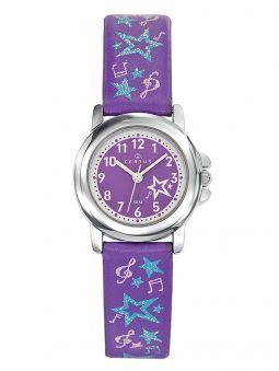 Montre pour fille, de couleur violette, illustrée de notes de musique et d'étoiles. Code article 647568 - Hors Collection
