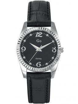 Montre femme Go métal blanc et bracelet cuir noir