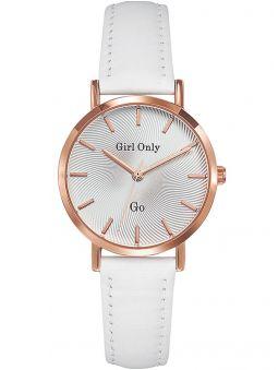 Montre femme Go Girl Only dorée rose bracelet cuir blanc