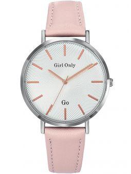 Montre femme Go bracelet cuir rose gros diamètre
