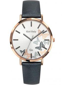 Montre femme Go bracelet cuir gris cadran papillons