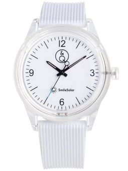 Montre Q&Q solaire  bracelet blanc cadran blanc