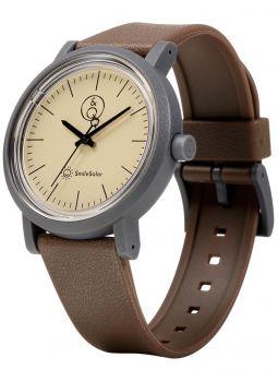 Montre Q&Q solaire bracelet brun fond beige