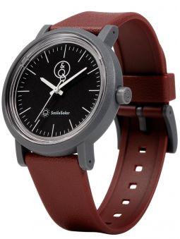 Montre Q&Q solaire bracelet brun fond noir
