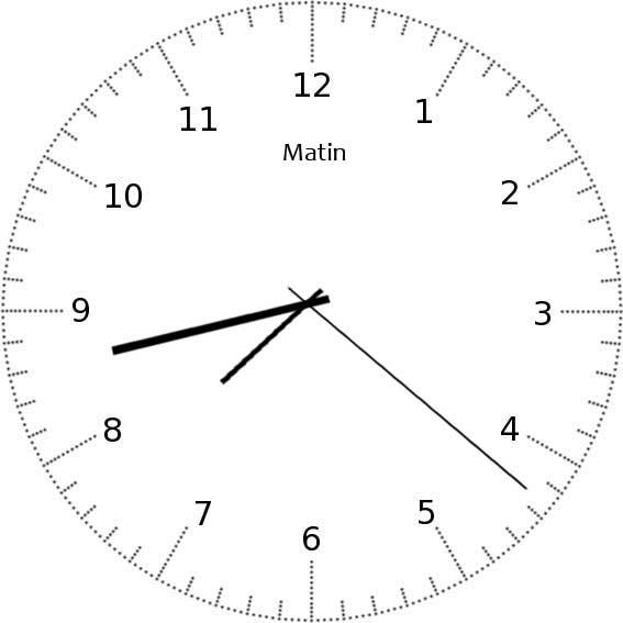 Apprendre à lire l'heure - exemple 12